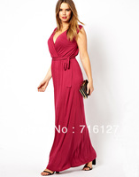 FREE SHIPPING 2014 women big yards temperament Slim deep V front and back of the same color belt long dress US14-US20