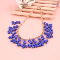 Wholesale Bohemian ethnic style blue stone beaded Necklace Blue