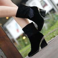 2013 scrub velvet tassel lace rhinestone caltha thick high-heeled shoes women's martin boots Free  SHIPPING