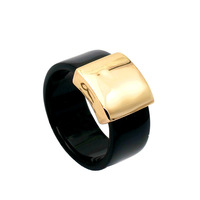 Wholesale Italina Acrylic 18K Rose Gold Plated Fashion Punk Band Ring Sale 18KRGP for Women Men