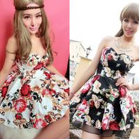 2014 Summer Autumn Cotton Dresses Fashion flora print Sexy Tube top Spaghetti Strap Casual Party Evening mini dress For Women