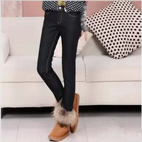 Add velvet 2013 winter big yards jeans feet female pencil pants elastic thin jeans