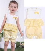New arrival wholesale top quality 100% cotton fashion summer baby girl''s pants+vest 2pcs set toddler's striped clothing suit
