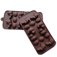 Silica gel animal cake mould baking tools chocolate ice cube tray handmade soap sugar mould glue