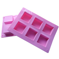 Silica gel baking mould tools cake mould square handmade soap 6 square mould 50g soap