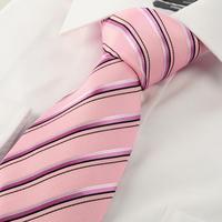 Free shipping New Silk Striped Pink Black Jacquard Woven Silk Men's Tie Necktie
