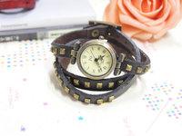 Lost Money Sale Genuine Cow Leather Punk Style Wrape Watch Women Fashion Bracelet Quartz Watch AN