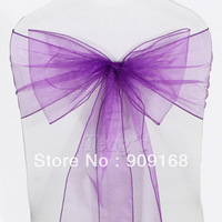 Purple Organza Chair Cover Sashes Bow Wedding Party Banquet Decoration
