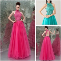 New Classy  Ball Gown Features Lace Applique Turtle neck  Bodice Flaring Tulle  Classical Cinderella Prom Dresses Gowns