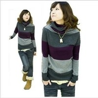 Women's new version of the loose women's fashion coat turtleneck striped sweater