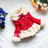 New arrival popular warm fashion kid's thickening outerwear plush 3 colors baby girl's overcoat toddler's outcoat wear