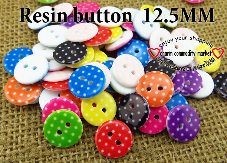 200PCS 10 cores misturadas 12,5 MM RESINA botão camisola botões da camisa clothes artesanato acessórios R-161(China (Mainland))