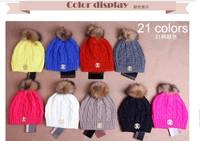 European and American fashion brand Latest Women Knitting Thick warm hat Raccoon fur big balls