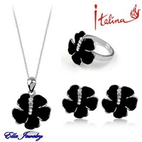 Italina Brand New real 18K platinum Plated SWA  Austrian Crystal Black flower Necklace earrings ring Jewelry Sets