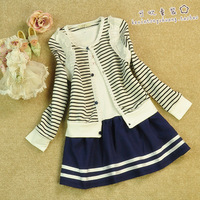 Isabelle2013 big girls clothing stripe waistcoat princess dress twinset clothing set