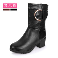 High-heeled boots medium-leg boots winter boots thick heel boots fashion plush size35-39