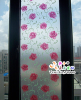 Glass film sunscreen bathroom scrub window stickers transparent red rose