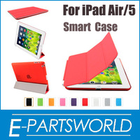Magnetic Smart Cover With Wake/Sleep Function For iPad Air+Transparent Back Case Ultra Thin Slim Case For Apple iPad 5 ,1set/lot
