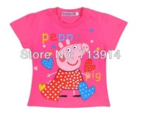 FreeShipping new kids boys baby girls cotton cartoon t shirt peppa pig cute red/white T-shirt,cartoon boys short sleeve t shirts