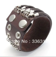 LBG0022147 Handmade Men Vintage Individual Alloy Buckle brown Punk Leather Wristband Bracelets Bangles cuff cool gift