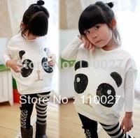 girls fashion cotton T-shirt bling bling sparkly kids tops panda batwing & long sleeve shirts white blouse 5pcs backing t shirts