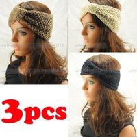 Free shipping 3 pcs Knit headband Soft Fashion Acrylic Crochet Hair Band Winter Warm Headwrap