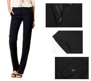 Новый бренд америка женские плоской передней классические брюки удобные черные прямые брюки с двумя задними карманами бесплатная доставка