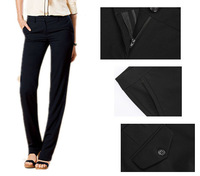 New brand America Women's Flat Front Classic Dress Pants Comfortable Black straight trousers with Two Back Pockets free shipping