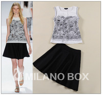 2014 spring and summer fashion elegant cutout embroidery top vest half-skirt fashion black-and-white twinset