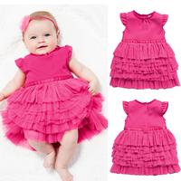 Children's clothing summer girl child rose cake short-sleeve dress