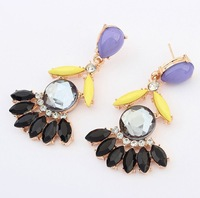 European and American fashion gems tone stud earrings