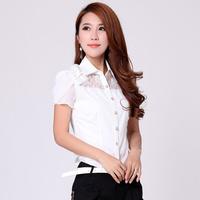 1370 S - 6XL Plus Size Women 2014 New Korean Sexy Fashion Renda Lace Chiffon Short Sleeve Shirt Body OL Blouse blusas femininas