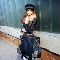 Autumn and Winter Fashion Shoulder Bag Rivet Oversized Cross-body Handbag Punk Bags Female 980g