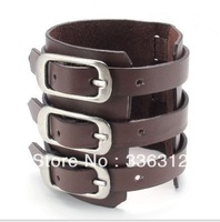 LBG0022159 Handmade Mens fashion Individual Alloy Buckle Punk black Leather Wristband inlay bullet Bracelets Bangle cool gift