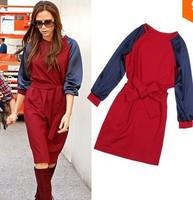 Promotion! Free Shipping 2013 Fashion Autumn Winter Women Dress Victoria Beckham , Red Blue Knee Length Dress Long Sleeve 1688b