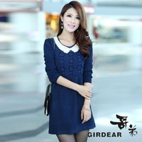 2013 autumn one-piece dress sweater women's medium-long sweater o-neck cashmere one-piece dress