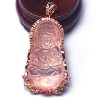 Women natural pink crystal guanyin pendant rose quartz dr. peach  pendants