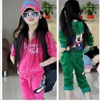 Children's clothing female child 2013 autumn child clothes child sweatshirt velvet sports set
