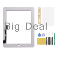 White Touch screen digitizer Outer glass lens replacement for iPad 3/4 +tools +adhesive +protective film