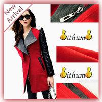 Leather Jacket Women Winter Outwear New 2013 In Black Navy Blue Red Contrast PU Leather Sleeve Zipper Woolen Coat For Woman