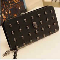 2013 wallet long design women's wallet vintage punk skull rivet day clutch bag mobile phone bag