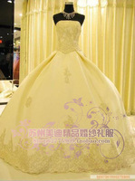 Meidi boutique wedding dress  bridesmaid dress satin evening dress big laciness train wedding dress