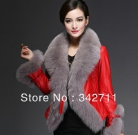 Card twitchell 2013 leather down coat fox fur sheepskin genuine leather clothing female slim design short outerwear
