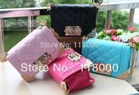 Wholesale mini 4 candy color PU leather plaid designer bag children handbag kids tote women handbag shoulder bag free shipping