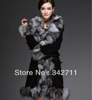 Fur one piece fox fur coat medium-long women's fur 2013