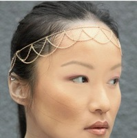 MOQ $5 Free shipping Fashion Europe Punk Style Personality Tassel Gold-plated Chain head bands hair X-N0929