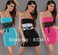 Free shipping 2 Colors Tube Top Dresses new fashion 2013 bandage dress black bodycon dress sexy women dresses