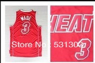 Free Shipping ! Top Quality 2013-14 Seasons New Men`s Miami 3 Dwyane Wade Black/Red Basketball Jerseys Embroidery Sewn logos