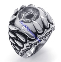 No Min Order Free Shipping with Wholesale Price Mens Monster Teeth Terrorist Ghost Grey Eye Hell Beholder Ring PUNK