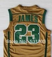 Free Shipping ! Irish High School #23 Lebron James Yellow/Green/White Basketball Jerseys Embroidery Sewing logos